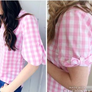 Banana Republic Pink Gingham Tie Sleeve Top XL